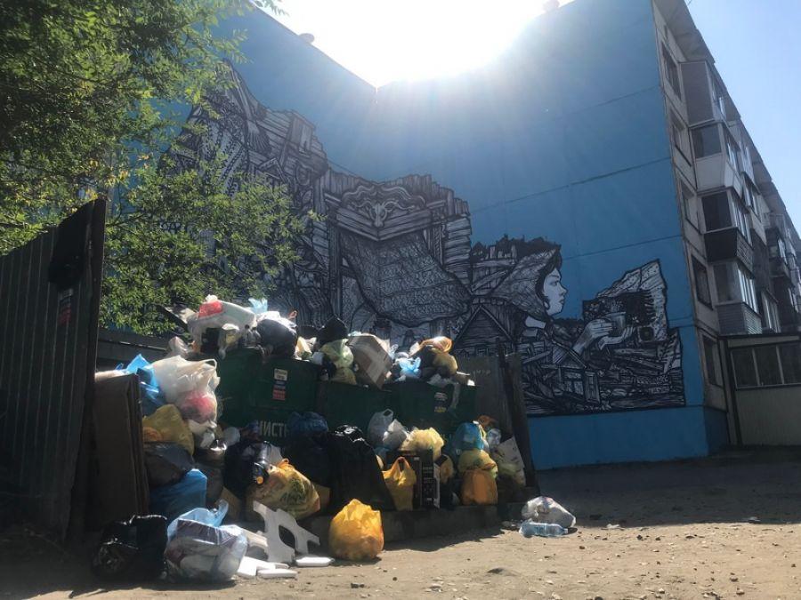 Как поживает Алёнка? Граффити в Бийске на ул.Советской засыпали мусором