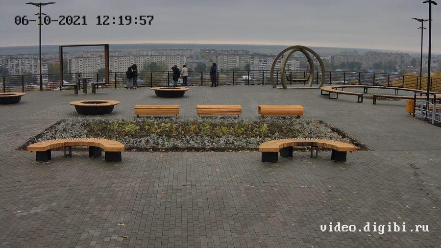 Вид с онлайн-камеры на сквер поселка Нагорный